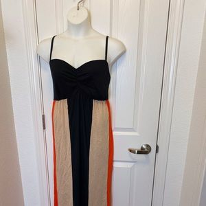 BLACK TAN MAXI DRESS BY CACIQUE * 22/24 *